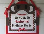 Sock Monkey Door Sign, Sock Monkey Party, Monkey Birthday, Sock Monkey Theme, Monkey Door Hanger, Sock Monkey Banner, Birthday Sign