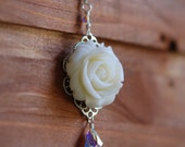 Ivory Rose and Crystal Teardrop Necklace Jewelry Gift for Her.  Free Shipping.