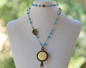 Opera Length Necklace - Ivory Rose, Turquoise & Antique Brass Jewelry Gift for Her.  Free Shipping.