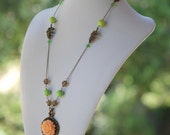 Opera Length Necklace - Peach Rose, Apple Green & Antique Brass Jewelry Gift for Her.  Free Shipping.
