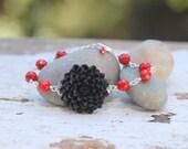 HUGE SALE SALE Black Mum and Red Jade Bracelet