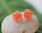 Small Rose Stud Earrings Jewelry Gift for Her.  Free Shipping.