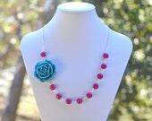 Teal Rose and Fuchsia Jade Chunky Asymmetrical  Necklace