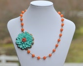Large Turquoise Flower Asymmetrical Statement Necklace with Burnt Orange Jade Beads