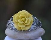 35 Percent OFF SALE SALE - Funky Chartreuse Rose on Antique Silver Cuff Bracelet