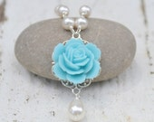 Light Blue Rose and White Pearl Teardrop Necklace. Bridesmaid Jewelry. Bridal Party Wedding Jewelry. Jewelry Gift for Her.  Free Shipping.