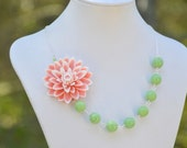 Chunky Asymmetrical Statement Necklace with Large Pink and White Flower with Soft Green Glass Beads.  Asymmetrical Statement Necklace.