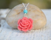 Coral Red Rose and Turquoise Classic and Simple Summer Necklace Jewelry Gift for Her.  .