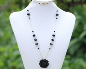 Black Rose and Gold Long Necklace with Black Glass Crystals Jewelry Gift for Her.  Free Shipping.