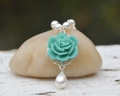 Turquoise Rose and White Swarovski Pearl Teardrop Necklace. Bridesmaid Jewelry. Turquoise Bridal Necklace. Bridesmaid Wedding Gifts.