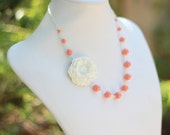 Stark White Flower and Coral Swarovski Pearl Asymmetrical Necklace Jewelry Gift for Her.  .