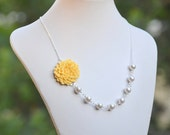 Bridesmaid Jewelry. Wedding Party Gifts.  Canary Yellow Mum Flower Asymmetrical Bridesmaid Necklace with White Swarovski Pearls.