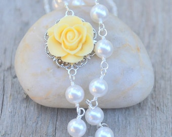 Canary Yellow Rose Asymmetrical Bridesmaids Necklace with White Swarovski Pearls Jewelry Gift for Her.  .