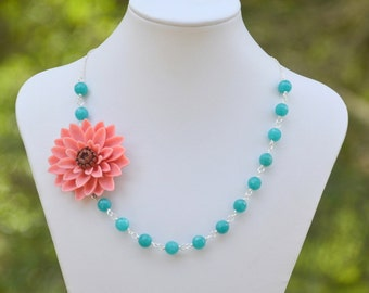 Bold Fashion Statement Necklace: Large Coral Flower and Teal Jade Beaded Asymmetrical Statement Necklace