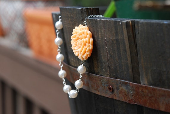 Peach Chrysanthemum and Swarovski Pearl Beaded Necklace Jewelry Gift for Her.  Free Shipping.