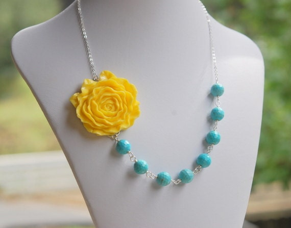 Bold Chunky Statement Necklace: Bright Yellow Rose and Turquoise Beaded Chunky Asymmetrical Necklace Jewelry Gift for Her.  Free Shipping.