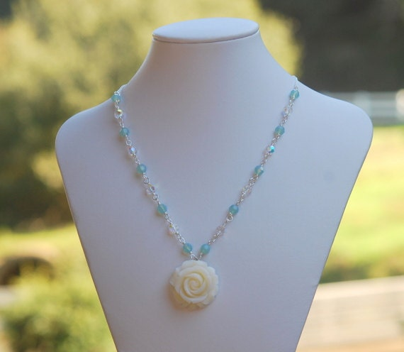 HUGE SALE SALE Ivory Rose and Pacific Opal Crystal Beaded Necklace