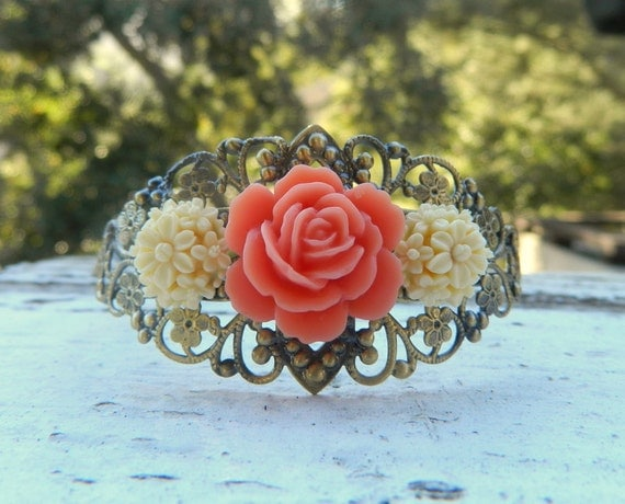 Unique Vintage Style Antique Brass Cuff Bracelet with Coral Rose and Ivory Daisy Blossoms