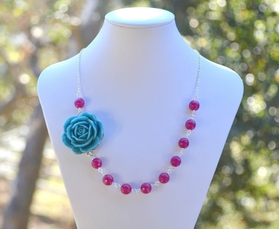 Teal Rose and Fuchsia Jade Chunky Asymmetrical  Necklace