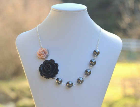 Black and Pale Pink Roses in Asymmetrical Necklace with Large Dark Gray Swarovski Pearls