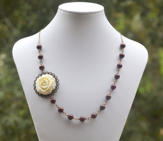 Vintage Style Ivory Rose and Burgundy Swarovski Pearl Asymmetrical Necklace in Antique Brass Jewelry Gift for Her.  Free Shipping.