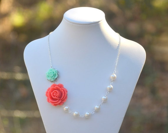 Bridal Party Necklace. Coral Rose and Minty Aqua Rose Asymmetrical Necklace with White Swarovski Pearls. Bridesmaids Statement Jewelry.