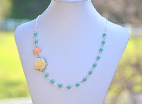 Ivory Rose and Peach Rose in Turquoise Asymmetrical Beaded Necklace - The Perfect Spring Necklace