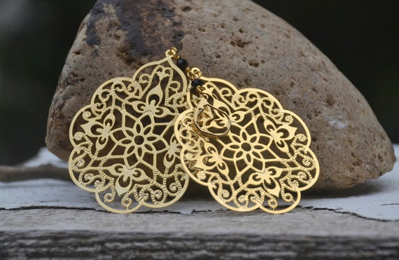 Large Gold Filigree Teardrop and Black Swarovski Crystal Dangle Earrings Jewelry Gift for Her.  Free Shipping.