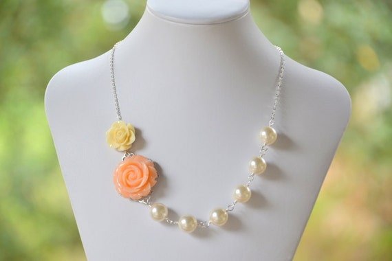 Stunning and Romantic Asymmetrical Peach Rose and Ivory Rose Bridal Necklace with Ivory Swarovski Pearls.  Bridemaid Statement Necklace.