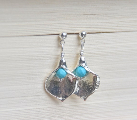 CYBER MONDAY SALE Calla Lily Petal and Turquoise Post Earrings Jewelry Gift for Her.  Free Shipping.