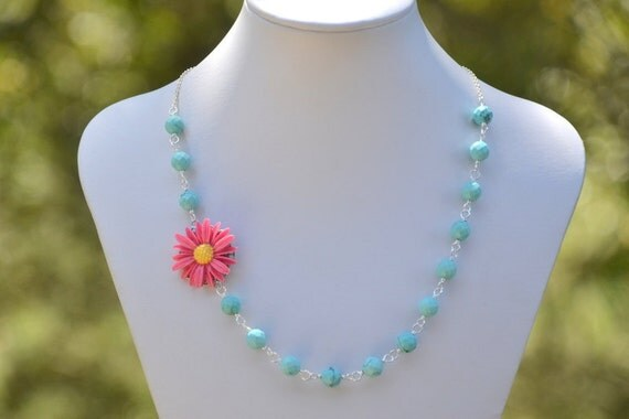 HUGE SALE Pink and Yellow Daisy Flower and Turquoise Beaded Asymmetrical Necklace Bright Statement Necklace Spring Fashion