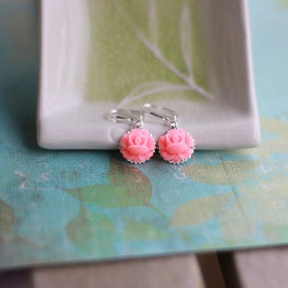 Darling Bright Pink Rose Dangle Earrings Jewelry Gift for Her.  Free Shipping.
