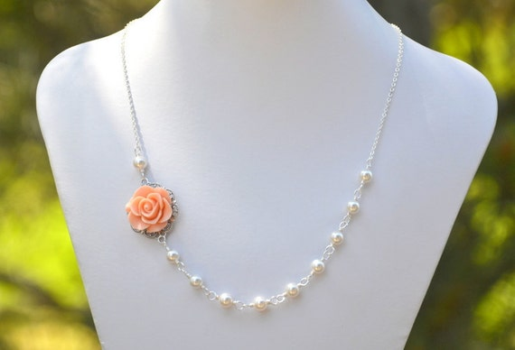 Dainty Peach Rose Asymmetrical Bridesmaids Necklace with White Swarovski Pearls. Bridal Jewelry. Peach Bridesmaids Gifts