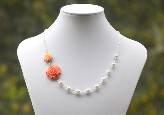 Dainty Coral and Peach Floral Asymmetrical Bridesmaid Necklace with White Swarovski Pearls. Coral Bridal Jewelry.