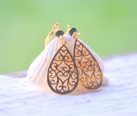 CYBER MONDAY SALE Gold Filigree Teardrop and Black Crystal Dangle Earrings Jewelry Gift for Her.  Free Shipping.