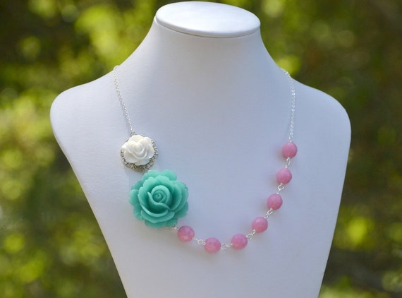 Teal Green Rose and White Rose Chunky Asymmetrical Necklace with Soft Pink Beads Summer Statement Necklace BLACK FRIDAY SALE