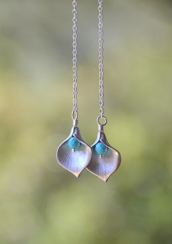 Long Silver Calla Lily Flower Petal and Turquoise Bead Chain Dangle Earrings - Chic Long Chain Earrings