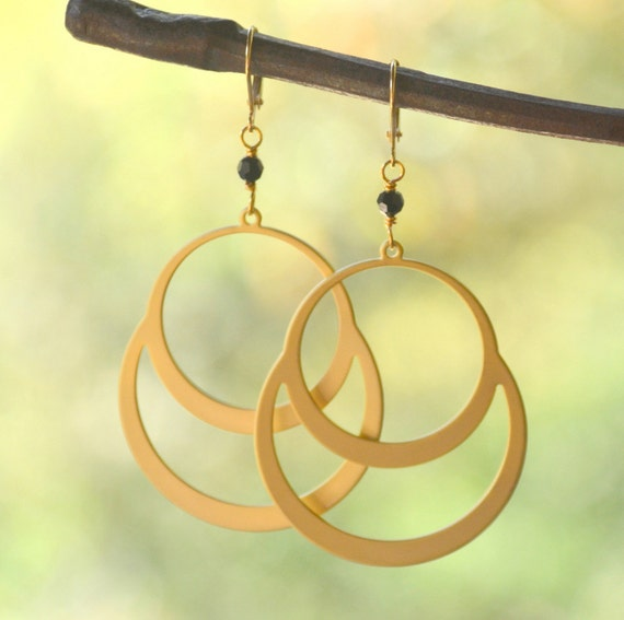 Awesome Large Gold Double Circle Hoop and Black Swarovski Crystal Dangle Earrings Jewelry Gift for Her.  Free Shipping.