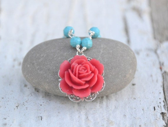 Red Rose and Turquoise Beaded Necklace - Beautiful Summer Fashion Necklace Jewelry Gift for Her.  Free Shipping.