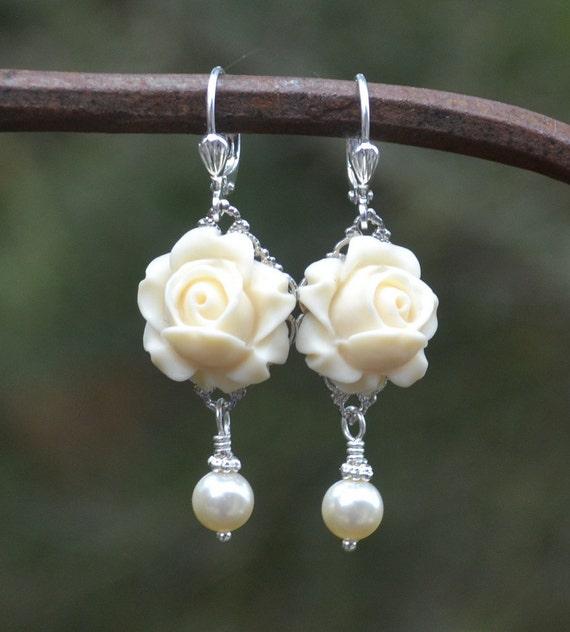 Romantic Ivory Rose and Ivory Swarovski Pearl Earrings. Floral Bridal Earrings.