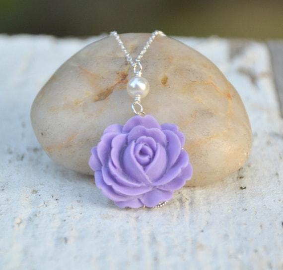 HUGE SALE Dainty Lavender Purple Rose and White Swarovski Pearl Necklace. Wedding Jewelry. Bridesmaids Jewelry.