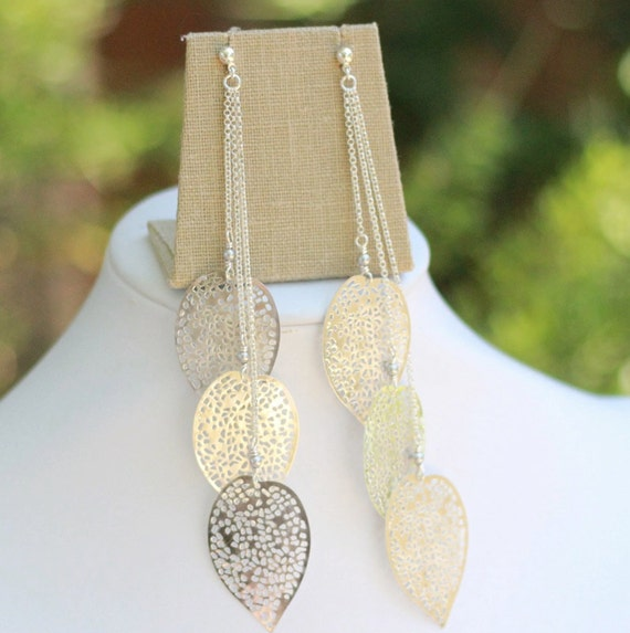Silver or Antique Brass Leaf Long Dangle Earrings. Shoulder Duster Fashion Earrings.Holiday Jewelry. Christmas Gift.