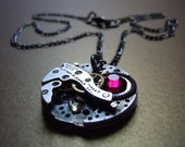 Victorian Steampunk Antique Watch Gunmetal Swarovski Necklace -Free Shipping-