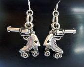 Roller Derby Wild West Showdown Gun Skate Earrings -Free Shipping-