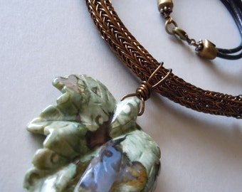 Double Viking Knit Bronze Leather and Rhyolite Necklace -Free Shipping-