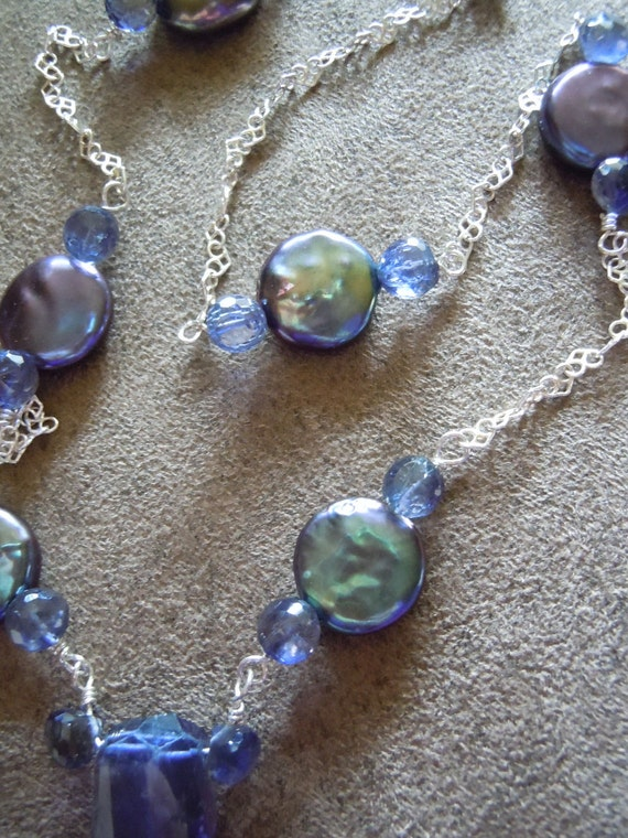 The Dark Sky's Compass Coin Pearls and Iolite Necklace  -free shipping-