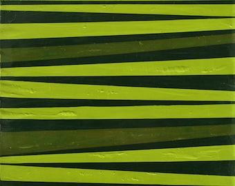 "Green Stripes, 6""x6"" original encaustic painting on wood panel, minimalist abstract modern art"