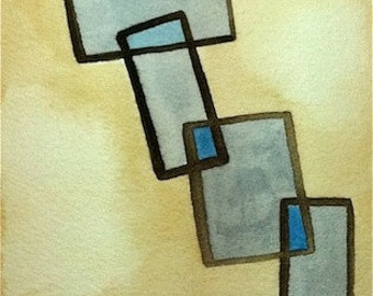 Original Watercolor Painting on paper, modern decor minimalist art in blue gray beige earth tones geometric overlapping rectangles stacked
