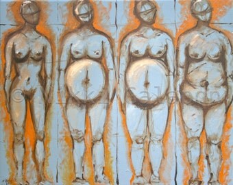Body Image: GICLEE PRINT of original oil painting, figure, nude, pregnant, before and after