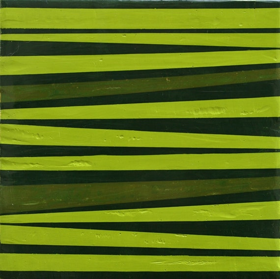 "Green Stripes, 6""x6"" original encaustic painting on wood panel, minimalist abstract modern art"